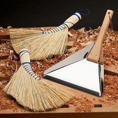 Elegant Stainless Steel & Beech Dustpan, Rice Straw Traditional Whisk Broom - Garrett Wade