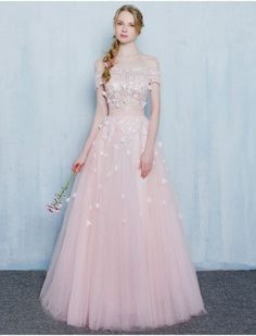Pearl Pink prom dresses,Sexy Prom dress,Off the shoulder prom dress,lace evening gowns,prom dress,long prom dress by DestinyDress, $157.39 USD