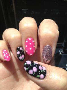 Nail Art 2014 - pink and black nails. Spring or Summer Nails.  Flowers and polka dots.