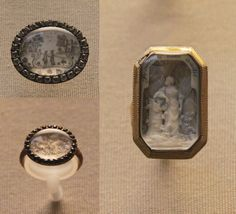 """Marriage scene, laid hairwork in a paste brooch, an inscription on the back urges couples to seal their love with marriage.  Ring hair embroidery on silk imitating moss agate, sapphire border.  Ring with carved ivory figure on woven hair, inscribed """"Preuve de mon amitie"""" (proof of my friendship), with initials, GuB  British Museum"""