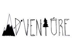 "Screen printed ""Adventure"" tee. Printed on American apparel kids/rabbit skin kids and alternative unisex adult."