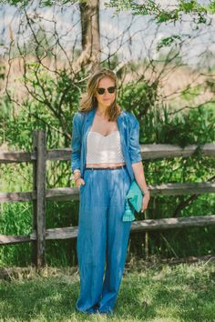 How to tackle wearing a bustier during the day. @TibiPR's Chloe King in a Tibi linen suit and Sonoran eyelet bustier.