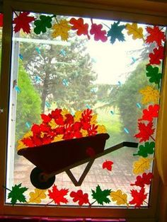Decor of autumn doors and WINDOWS. It& here, it& already fall, dent . - Decor of autumn doors and WINDOWS. It& here, it& already fall, dent - Fall Window Decorations, Fall Classroom Decorations, Decoration Creche, Class Decoration, School Decorations, Fall Decor, Classroom Ideas, Autumn Crafts, Autumn Art
