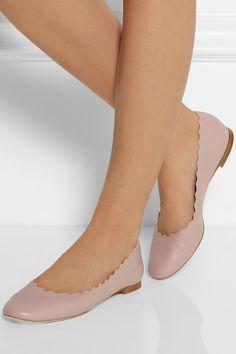 Chloé|Lauren leather ballet flats|NET-A-PORTER.COM
