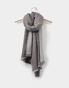 Checkley Soft Grey Jacquard Scarf , Size One Size | Joules US