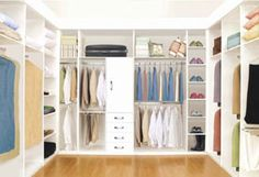 White closet with wooden floor