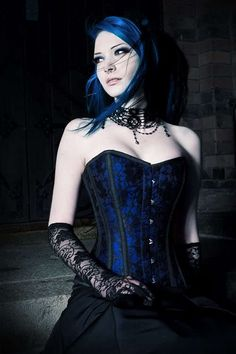 #blue #corset #goth #beauty #gothic #lace #Victorian