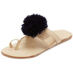 Figue Pom Pom Sandals ($165) ❤ liked on Polyvore featuring shoes, sandals, navy, leather toe ring sandals, genuine leather shoes, navy sandals, real leather shoes and leather footwear