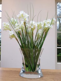 Faux/artificial narcissi in craft water (TM) a bespoke design by Daisy Alley for a client