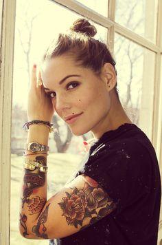 Very cool arm piece. http://thebamfnation.com/girls/girls-with-tattoos