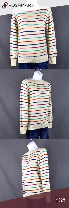 """Vintage Barry & Me Striped Boatneck Sweater Sz M Boatneck sweater is in very good condition. Material unknown, tag missing. Size tag also missing. Appears to fit like a Medium but please refer to measurements for exact fit:  Measured flat:  Shoulder: 15.5"""" bust: 18.5"""" Waist: 14"""" Hem: 8.5"""" Length:23 1/4"""" Sleeve length A: 8"""" sleeve length B:23"""" Cuff: 3""""  Smoke free pet friendly home.  ❤️bundles ❌trades Please check out the rest of my closet, tons of goodies to be had💕 Barry & Me Sweaters Crew…"""