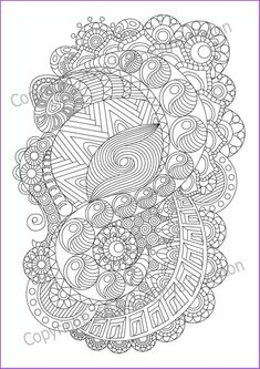 Adult Coloring Page Zentangle Pattern Inspired Sheet Printable Art Original PD