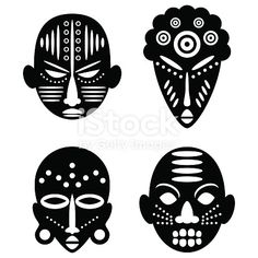 African Masks Isolated On White Vector Icons For Tribal Designs - Tribal African Masks Color And Outline Masks Isolated On White Background Vector Illustration Set Of Four Color Traditional African Masks On A White Background Isolated African Thief On Whi Arte Tribal, Tribal Art, Free Vector Art, Vector Icons, Vector Graphics, Ta Moko Tattoo, Fox Tattoo Design, Mask Drawing, Africa Art