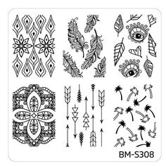 Festival Nail Art Manicure Stamping Plate - BM-S308, Hippie Chic
