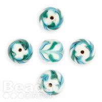 Green/Blue/White Swirl Pattern Finished Glass 14mm Round Beads Pk5