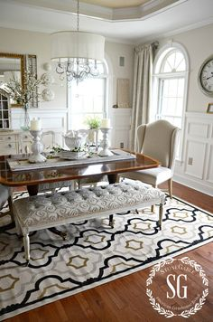5 RULES FOR CHOOSING THE PERFECT DINING ROOM RUG-dining room-stonegableblog.com