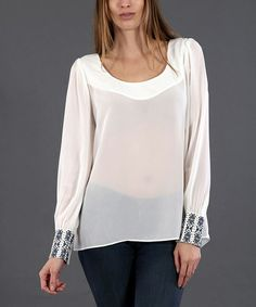Look what I found on #zulily! Off-White Embellished Long-Sleeve Top by Double Zero #zulilyfinds