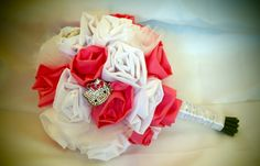 HELLO KITTY Inspired Handmade Fabric Flower Bouquet with Rhinestone Hello Kitty Brooches-Quinceanera. $140.00, via Etsy.
