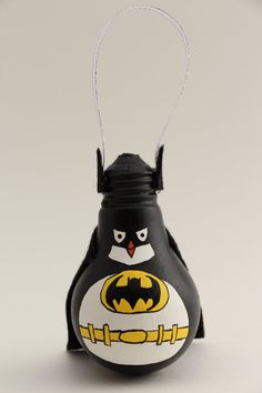 Penguin Batman by CouchCat on Etsy hand painted light bulb