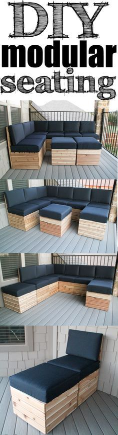 BALCONY - DIY Modular Seating! Easy build and you can build it/arrange it to fit your space! Free Plans!