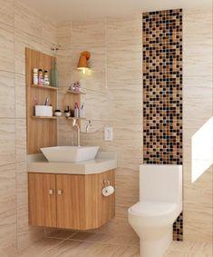 Banheiro simples: 110 propostas para aproveitar o que você já tem Small Bathroom Decor, Cheap Home Decor, Small Bathroom Makeover, Bathroom Decor, Bathroom Design Decor, Bathroom Design Luxury, Bathroom Design Small, Bathroom Interior Design, Washbasin Design