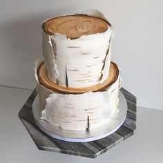 Birch Cake by Darci Weil of Kake Canmore Birch Wedding Cakes, Fall Wedding Cakes, Wedding Cakes With Cupcakes, Wood Cake, Fondant Cakes, Cupcake Cakes, Birch Tree Cakes, One Tier Cake, Gift Box Cakes