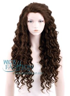 "26"" Long Spiral Dark Mixed Brown Lace Front Synthetic Wig $54  Could be used for Belle (set on larger rollers)"