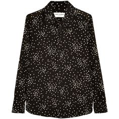 Saint Laurent Printed crepe shirt (9.340 NOK) ❤ liked on Polyvore featuring tops, shirts, majice, saint laurent, black star shirt, crepe top, shirts & tops, relax shirt et black top