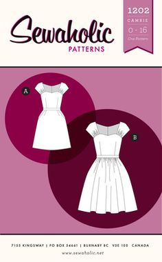 Cambie Dress sewing pattern by Sewaholic Patterns, a vintage style dress with sweetheart neckline, full gathered skirt and pockets, fitted b...