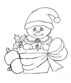 desenho de boneco de neve dentro de um vaso de barro para pintar