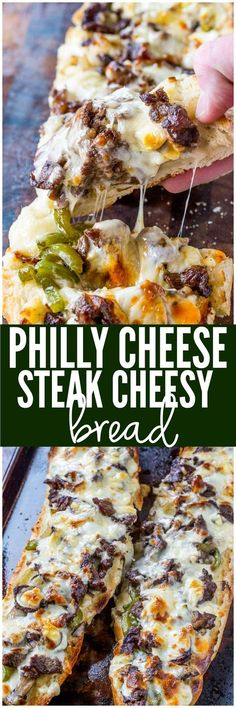 Cheese Steak Cheesy Bread Philly Cheese Steak Cheesy Bread with just a few ingredients is the taste of Philly for a crowd!Philly Cheese Steak Cheesy Bread with just a few ingredients is the taste of Philly for a crowd! Philly Cheese Steaks, Philly Cheese Steak Bread Recipe, I Love Food, Good Food, Yummy Food, Healthy Food, Dinner Healthy, Healthy Meals, Healthy Eating