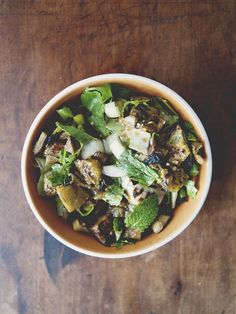 Vietnamese inspired grilled eggplant and leek salad