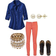 Royal Blue Shirt and Coral Skinny Jeans :) Stunning and simple for school functions with the kiddos.