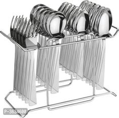 Cutlery Set Platinum With Stand Made From Stainless Steel Pack Of 24 Pieces by Sourgrape's Online - Online shopping for Dining & Serving on MyShopPrime -