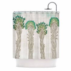 "Pom Graphic Design ""Amazon Trees"" White Nature Shower Curtain 