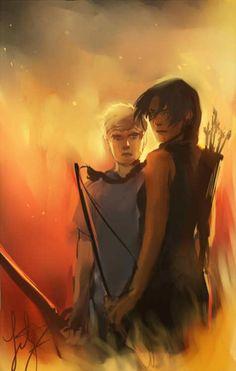 Katniss and Peeta fan art, in flames!