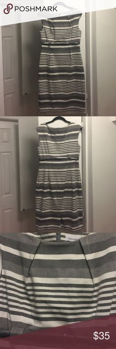 """Calvin Klein dress Classy Gray striped Calvin Klein dress with belt. Size 10. I am 5'8"""" and it is knee length.Dress is fully lined. Calvin Klein Dresses"""