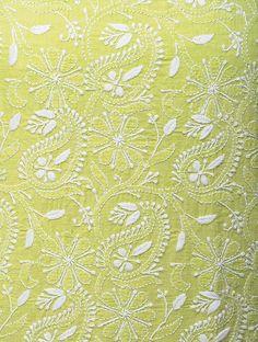 Green-White Chikankari Handloom Khadi Blouse Fabric by Jaypore Phulkari Embroidery, Embroidery On Kurtis, Hand Embroidery Dress, Kurti Embroidery Design, Embroidery On Clothes, Embroidery Flowers Pattern, Embroidery Motifs, Indian Embroidery, Embroidery Fabric