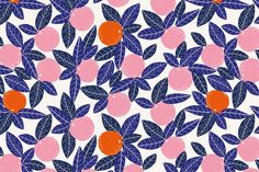 Kiabi - http://mytextiledesign.com | gorgeous blues pink and orange fruit with leaves dots pattern | graphic | whimsical