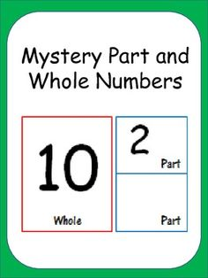 Students can use these cards with manipulatives to find the missing parts and wholes. In order to differentiate this practice you can make this activity more challenging by not allowing manipulatives to those more advanced students. Common Core: 1.OA.1