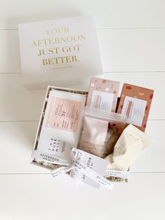 *MINI* Hello Cutie! Hello Cutie! A sweet little *MINI* box to pep them up, pick their afternoon up and say HELLO! all in one!All our hand selected, Australian Made products come in our signature white matte boxes tied up with our ribbon and tags. #birthdaygiftbox #minibox #pampertime #healthygiftbox #christmasgiftbox #christmasgift #giftbox #health #wellness #australia #nourishing #desertblush #diaryfreegiftbox