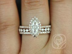 Sasha 10x8mm & Petite Bubble Breathe 14kt Rose Gold Marquise FB Moissanite and Diamonds Halo TRIO Wedding Set