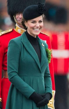 The Duchess of Cambridge looking radiant on a St. Patrick's day Ceremony for the Irish Guards in Southern England. March 2013.