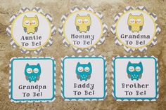 Owl Theme Chevron Button Pin- teal yellow grey- for Baby Shower or Birthday Party (Quantity 6)