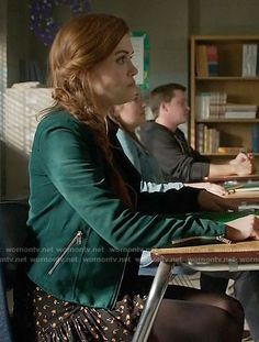 Lydia's floral skirt and green moto jacket on Teen Wolf. Outfit Details: https://wornontv.net/62528/ #TeenWolf