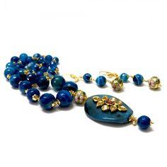Multiple Blue Beads Kundan Pendant Necklace