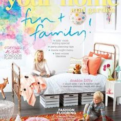 Our Fireworks Mural from our Watercolours Collection on the cover of New Zealand's Your Home & Garden Magazine Cover June Edition #watercolour #mural #kids #decor #wallpaper #contemporary #playful
