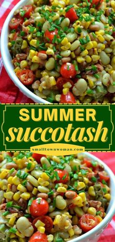 26 reviews · 35 minutes · Serves 6 · The perfect summer grilling side dish or light meal! Your family will love this quick and easy summer salad. Combined with okra and bacon, this succotash recipe is bright and colorful. Save this pin! Best Summer Salads, Summer Salad Recipes, Healthy Dinner Recipes, Bacon Recipes, Cooking Recipes, Succotash Recipe, Grilled Side Dishes, Veggie Casserole, Easy Family Meals