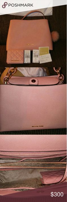BNWT Michael Kors pale pink chains set BNWT..brand new with tags Michael Kors pale pink Stefano leather gold and pink chains satchel. This set comes with dust bag, 3 slot wallet, long cross body strap, purse, and official Michael Kors pink pom pom. I bought this set brand new at the store and decided it wasn't big enough for me. It truly is a medium sized bag complete with two compartments, a middle zip compartment and four pen/ lipstick holders. There are no stains, or foul smells, but does…