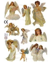Pale Green Angel Scraps with Glitter ~ Denmark
